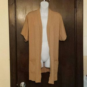 Chico's Tan Short Sleeve Fly Front Cardigan